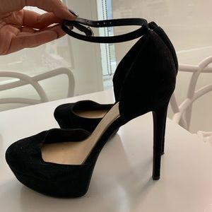 Black platform ankle strap pumps